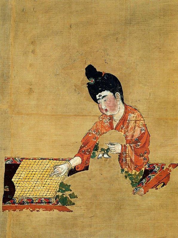 Mujer jugando al Go (Dinastía Tang ca. 744 d. C.) Museo de la región autónoma Uigur de Sinkiang, China. (Public Domain)