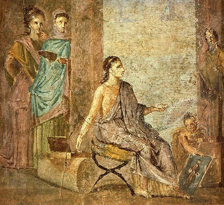 Mujer pintando una estatua de Príapo. Fresco romano de la Casa del Cirujano, Pompeya, Italia. (Dominio público)
