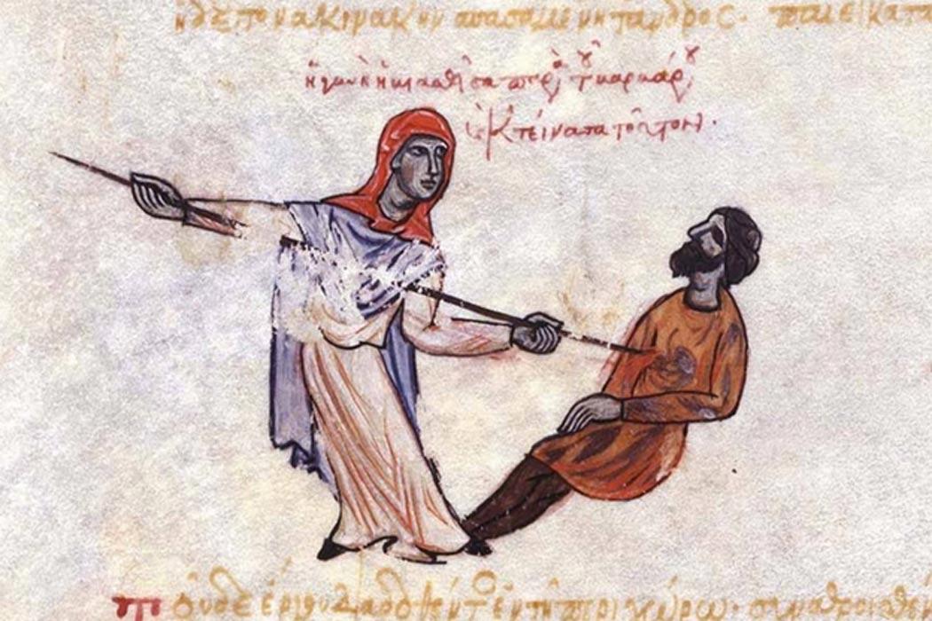 Mujer tracesiana matando a un varego. (Public Domain)