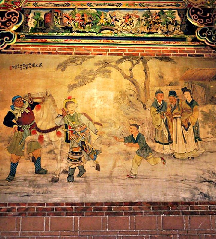 Hua-Mu Lan se alista en el ejército en lugar de su padre, pintura del Templo Dalongdong Baoan (Taipei) realizada por Pan Li-shui. (Pow951753/CC BY-SA 3.0)