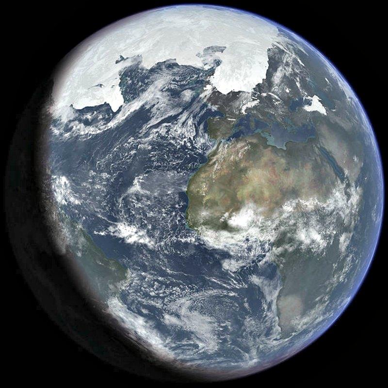 Hace unos 25.000 años comenzó la última gran glaciación que mantuvo a medio mundo congelado durante más de 60 siglos. Recreación artística del alcance de la última era glacial. (Ittiz/CC BY – SA 3.0)