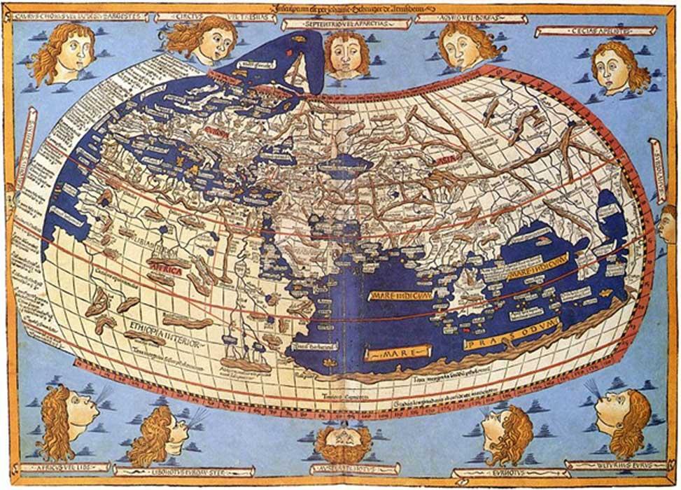 Mapa del siglo XV con la descripción de Ptolomeo del mundo habitado, (1482, Johannes Schnitzer). (Public Domain)