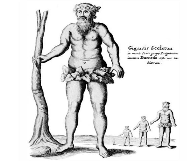 """Ilustración de """"Mundus subterraneus"""" que sugiere que algunos huesos fósiles de gran tamaño procedían de una raza de gigantes (Wikimedia Commons)"""
