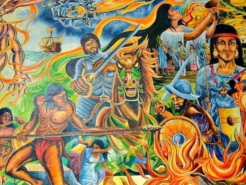 """La violencia y las enfermedades traídas por los europeos diezmaron las poblaciones de indígenas americanos. """"Batalla de Centla"""", mural realizado por el pintor Homero Magaña Arellano. Palacio Municipal de Paraíso, Tabasco, México. (Dominio público)"""