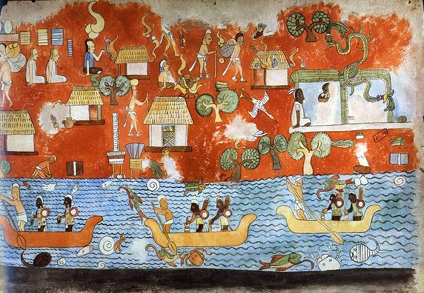 Mural del Templo de los Guerreros de Chichén Itzá. (Copyleft)