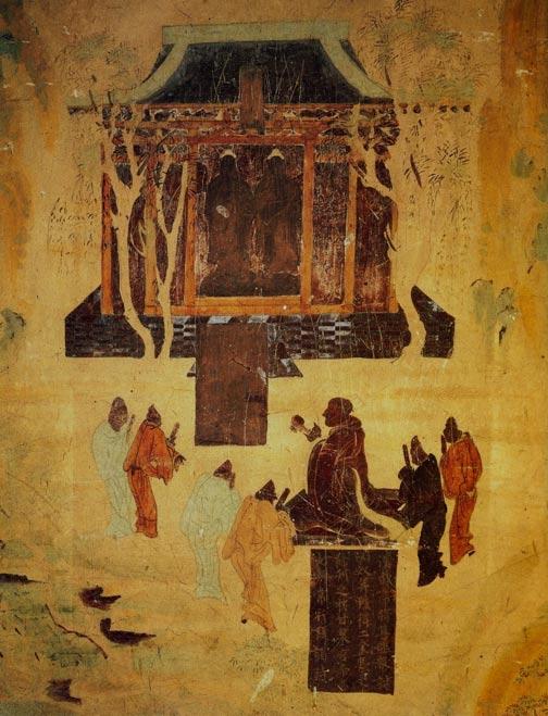 Pinturas murales del emperador Wu, de la dinastía Han Occidental, en una cueva de Mogao. Este soberano, el más grande de su época, aparece retratado en humilde actitud de veneración a los budas. Su nieto Liu He no fue tan ilustre, pero se le rindió homenaje en un magnífico enterramiento de todos modos. (Wikimedia Commons)