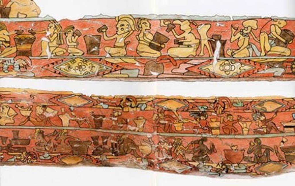 Mural maya de 'Los Bebedores'. (Imagen original)