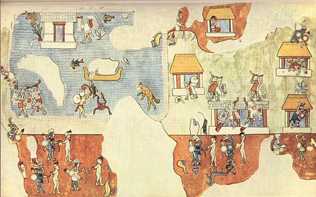 Pintura mural del Templo de los Guerreros de Chichén Itzá, México. La imagen muestra hombres de piel clara preparándose para retirarse por mar mientras otros defienden un poblado o son hechos prisioneros. (The Plumed Conch)