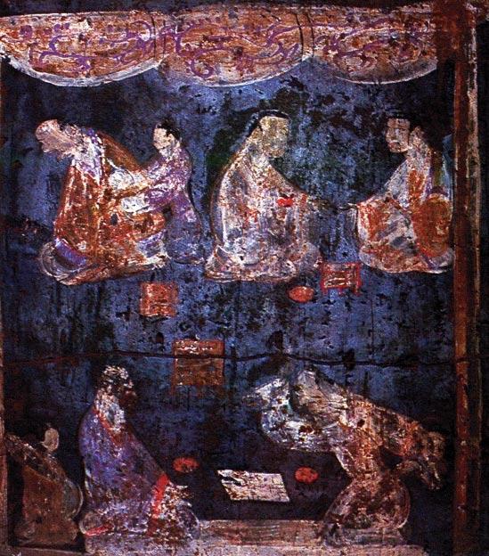Mural de una tumba de la dinastía Han Oriental situada en Luoyang, Henan. En la pintura podemos ver a dos jugadores de Liubo en primer plano, el jugador de la derecha con su mano levantada como si fuera a arrojar los seis palos (elemento de algunos juegos chinos que se utilizaba de forma parecida a los dados). (Public Domain)