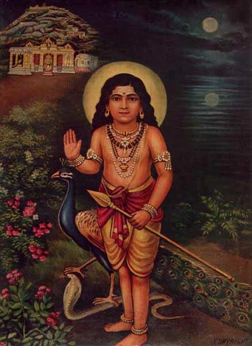 Murugan con la lanza Vel (Public Domain)