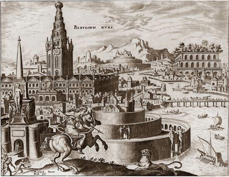 """Ilustración de los """"Míticos Jardines Colgantes de Babilonia"""" (1901) (Wikimedia Commons)"""