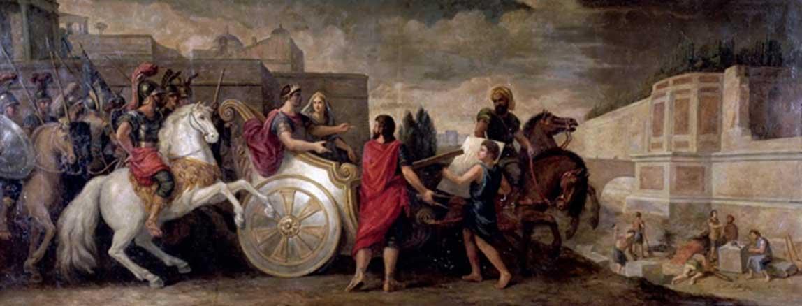 'Nabucodonosor ordena la construcción de los Jardines Colgantes de Babilonia para complacer a su consorte Amyitis (Nabucodonosor y Sémiramis)' (1676), óleo de René-Antoine Houasse. (Dominio público)