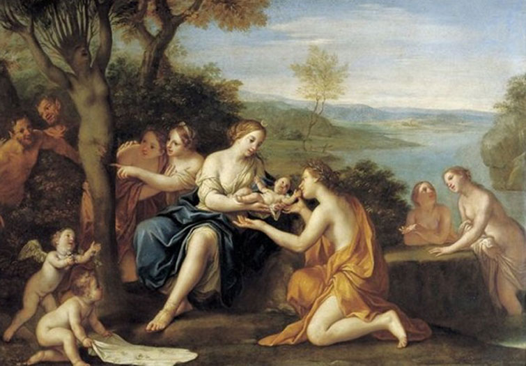 'Nacimiento de Adonis' (c. 1685-90) óleo sobre cobre de Marcantonio Franceschini. (Dominio público) El bebé de Mirra no era otro que Adonis.