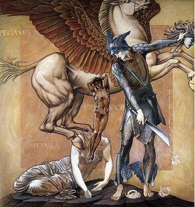 Pegaso nace del cuerpo de Medusa decapitada. 'The Perseus Series: The Death of Medusa I', ilustración de Edward Burne-Jones (Public Domain)