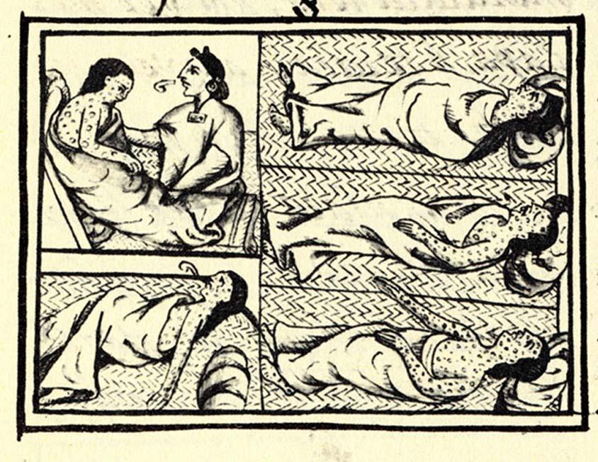 Panel ilustrado, fol.54 del Libro XII del 'Códice Florentino', compendio del siglo XVI de materiales e información sobre la historia azteca y nahua recopilado por Fray Bernardino de Sahagún. El dibujo nos muestra a nahuas infectados por la viruela. (Dominio público)