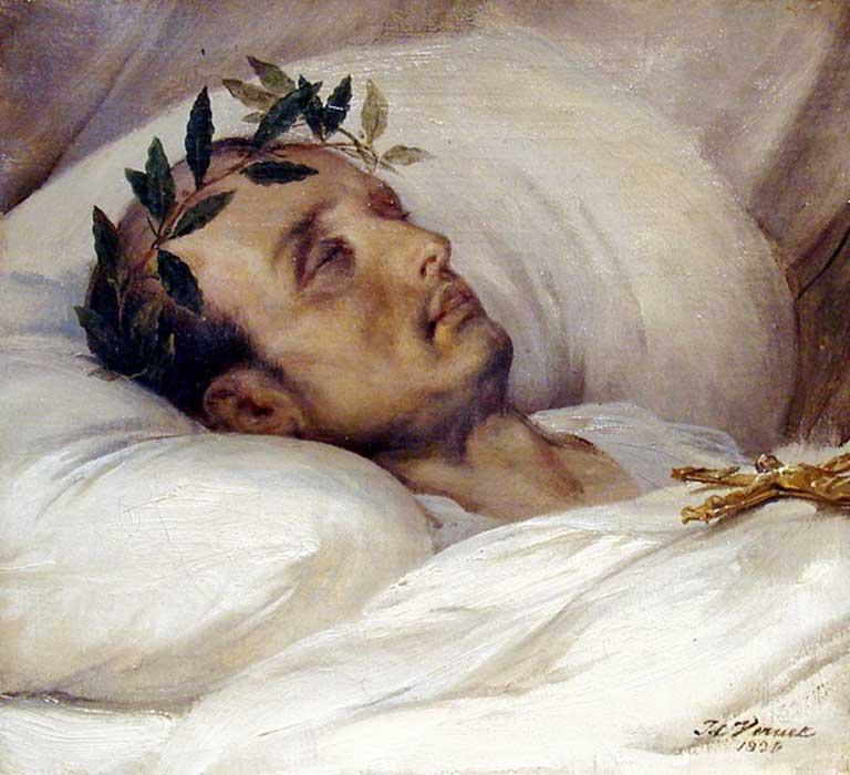 Napoleón en su lecho de muerte, óleo de Horace Vernet (1826). (Public Domain)