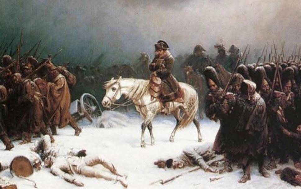 Napoleón se retira de Moscú, pintura de Adolf Northern (Wikimedia Commons)