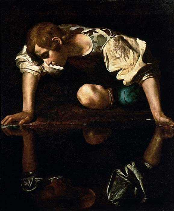 """""""Narciso"""" (1594-1596) de Caravaggio. (Dominio publico)"""