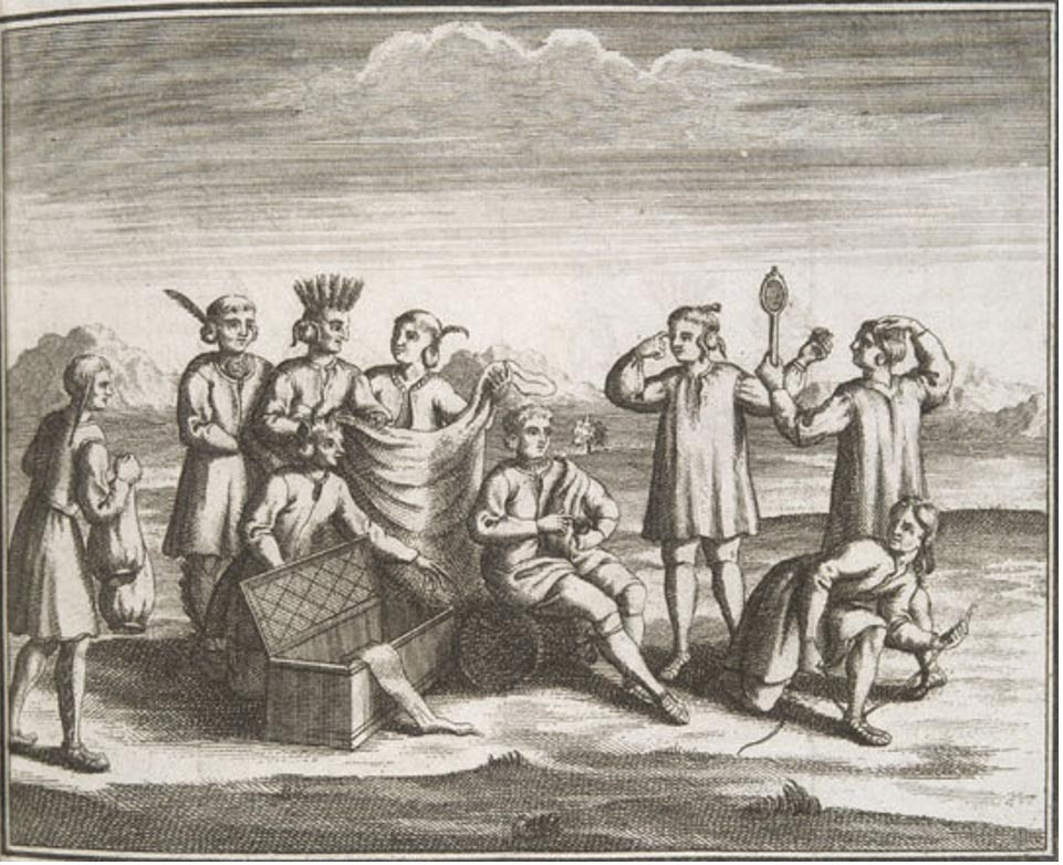 Nativos americanos Iroqueses comerciando con los europeos, 1722. Public Domain