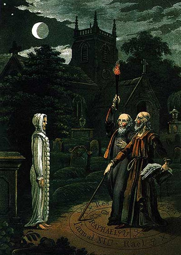 Necromancia: El arte de conjurar a los muertos y comunicarse con ellos, imagen de John Dee y Edward Kelley. De: Astrology (1806) por Ebenezer Sibly. (Wikipedia.org)