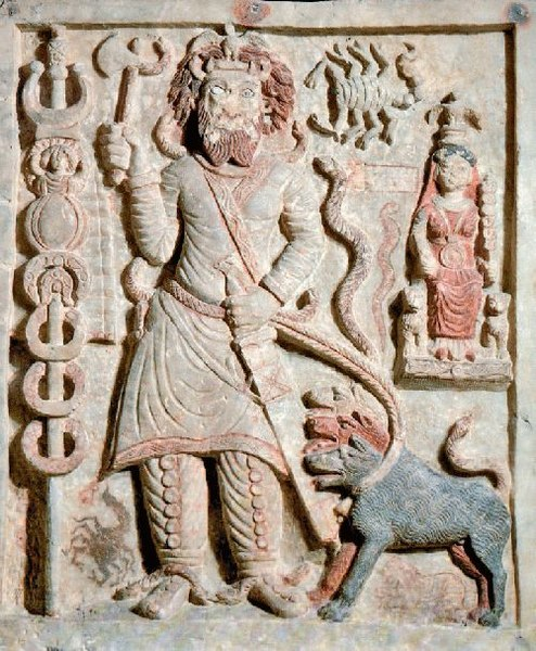 Antigua talla parta en relieve que representa a Nergal, el antiguo dios mesopotámico de la muerte y la peste. (Dominio público)