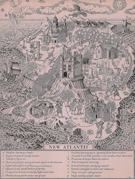 Ilustración del libro 'Nueva Atlántida' de Sir Francis Bacon, novela utópica publicada en 1627 (Endlessformsmostbeautiful/Flickr)
