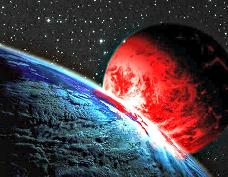 Representación imaginaria de Nibiru acercándose a la Tierra. (Imagen: Código Oculto)