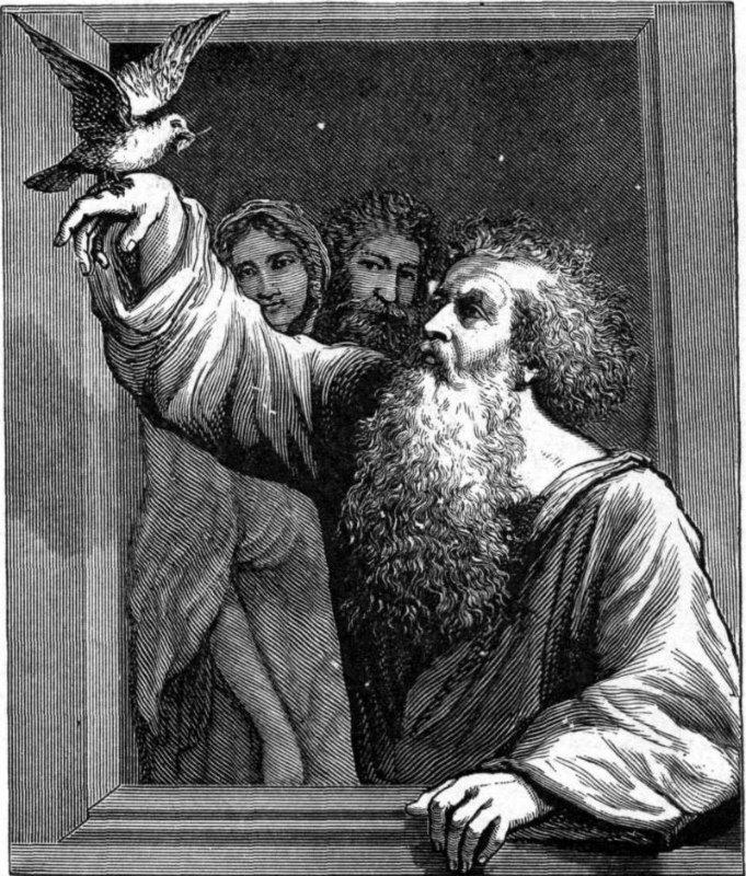 Noé recibiendo a la paloma con la rama de olivo. Ilustración de Charles Foster (1897) (Public Domain)