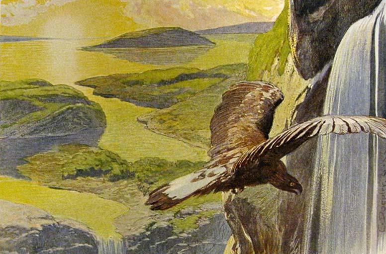 El nuevo mundo que renace tras el Ragnarök, según aparece descrito en el Völuspá (ilustración de Emil Doepler). (Dominio público)