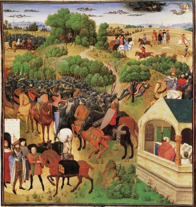 Ocho escenas del 'Cantar de Roldán' en una sola imagen. (Dominio público)