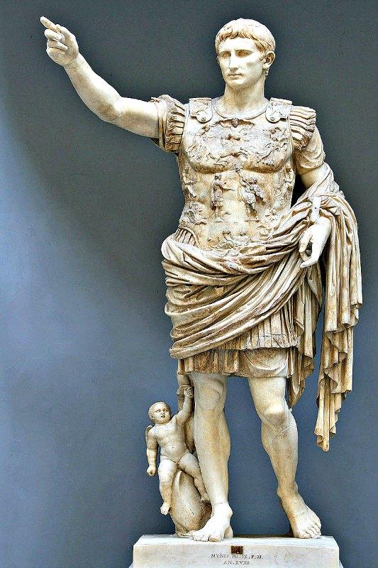 Augusto de Prima Porta, estatua de César Augusto en el Museo Chiaramonti de la Ciudad del Vaticano. (GNU FREE)