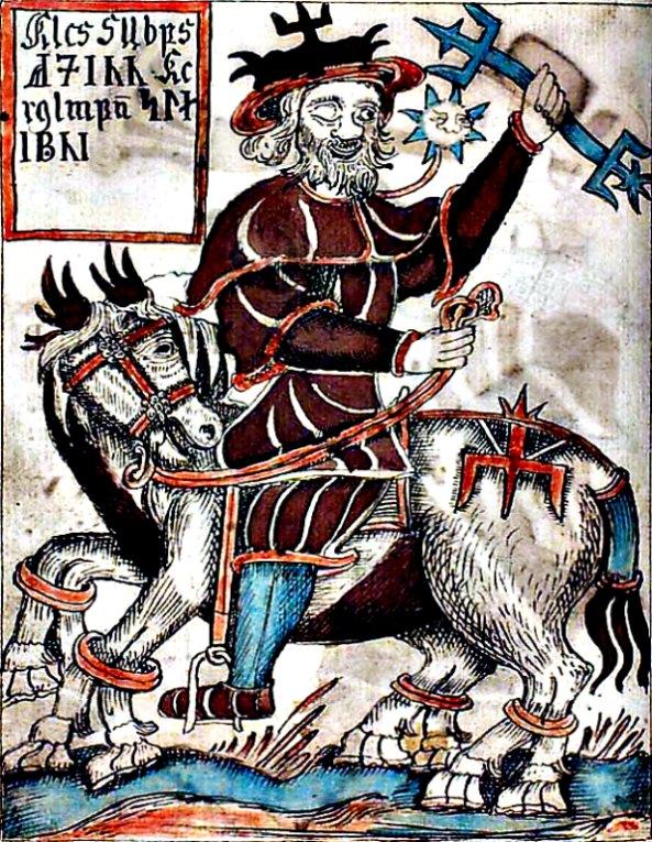 Odín sobre su caballo, Sleipnir. Ilustración de un manuscrito islandés del siglo XVIII. Biblioteca Nacional Danesa. (Public Domain)