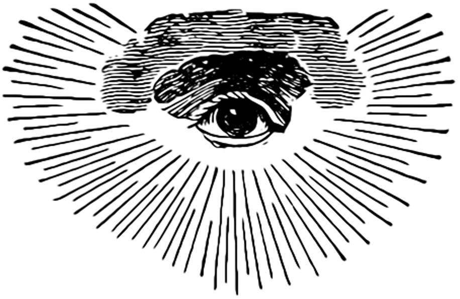 Una de las primeras versiones masónicas del Ojo de la Providencia, con nubes y rayos de gloria formando un semicírculo. (Public Domain)
