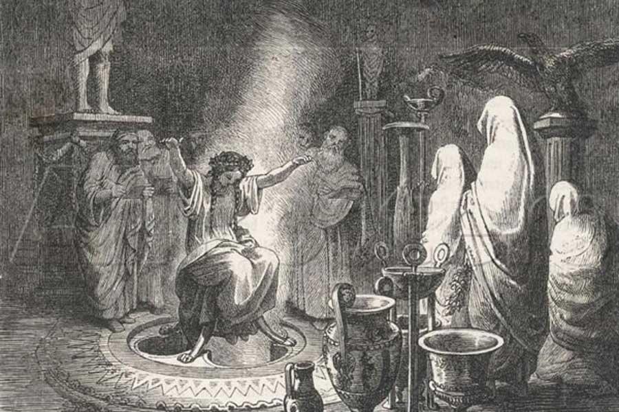 Ilustración de Heinrich Leutemann: 'El oráculo de Delfos en trance'. (Dominio público)