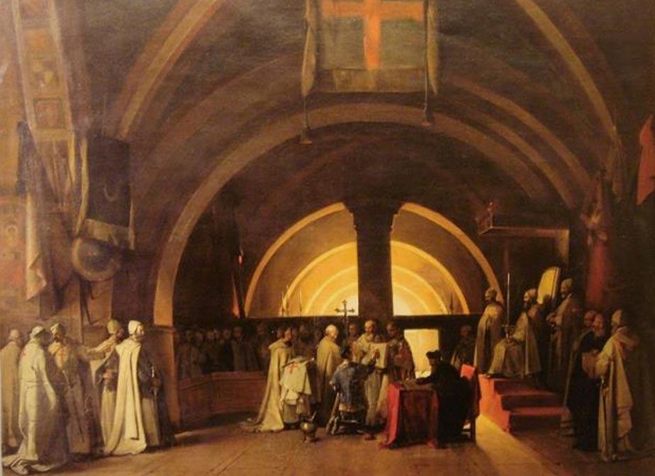 Ordenación de Jacques de Molay como caballero templario en 1265 en la comandancia de Beaune. Pintura de Marius Granet (1777-1849) (Public Domain)