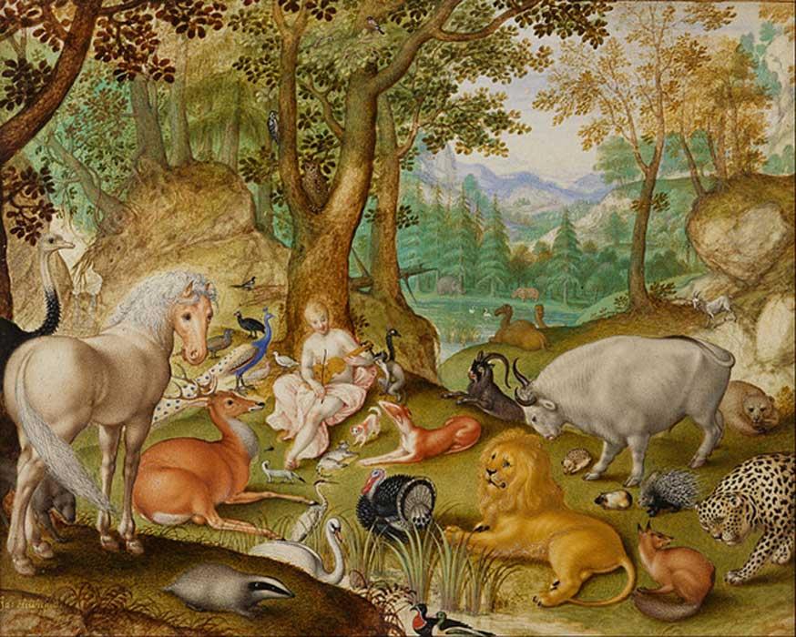 'Orfeo encantando a los animales' (1613), acuarela y aguada de Jacob Hoefnagel. (Dominio público)