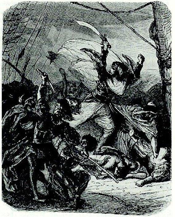 Oruç captura una galera. (Public Domain)