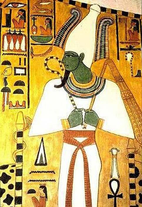 El dios egipcio Osiris aparece en este friso pintado sobre uno de los muros de la tumba QV66, el lugar de enterramiento de Nefertari (c. 1295-1255 a .C.) (Dominio público)