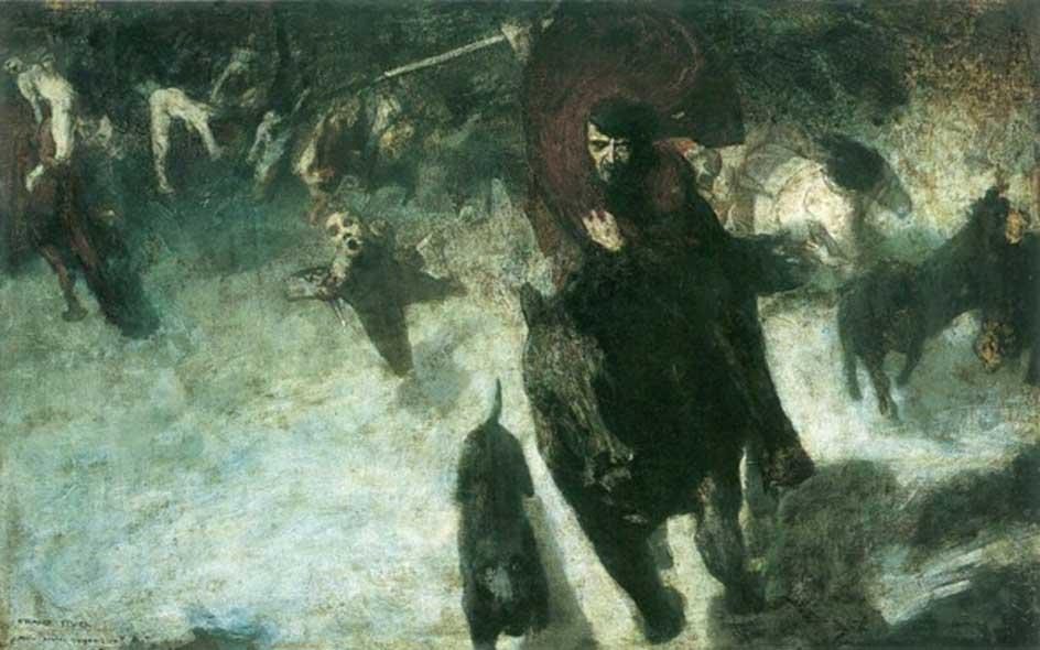 Oskorei o la Cacería Salvaje, fenómeno de la mitología germánica. Pintura de Franz Stuck (1889). (Dominio público)