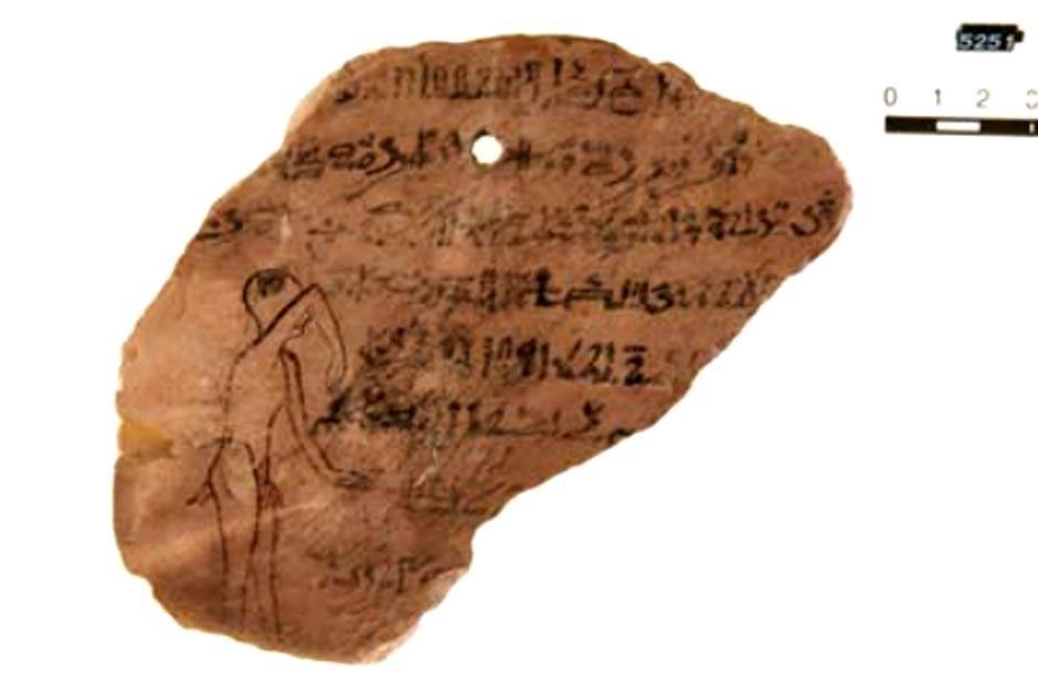 Sehaqeq, el demonio de la migraña. Ostracón de Leipzig, Museo Egipcio Georg Steindorff, Inv.-No. 5152. (Rita Lucarelli/UCLA)