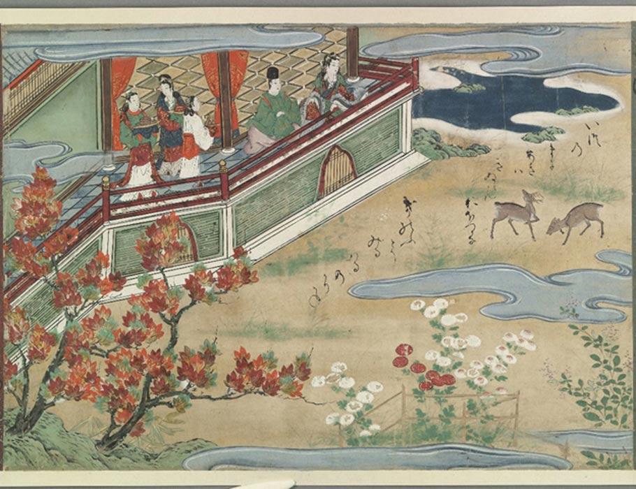 Otoño en el reino submarino; el pescador japonés Urashima Taro fue mágicamente transportado al reino submarino de Ryugu-jo. (Biblioteca Bodleiana/CC BY 4.0)