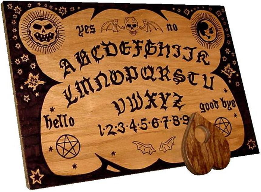Moderno tablero de Ouija junto con su puntero, también de madera. (Public Domain)
