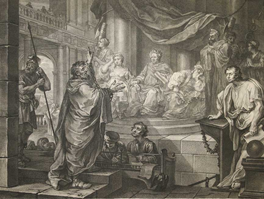 Pablo ante Félix, ilustración de 1752. Drusila de Judea aparece sentada a la derecha de Félix. (Public Domain)