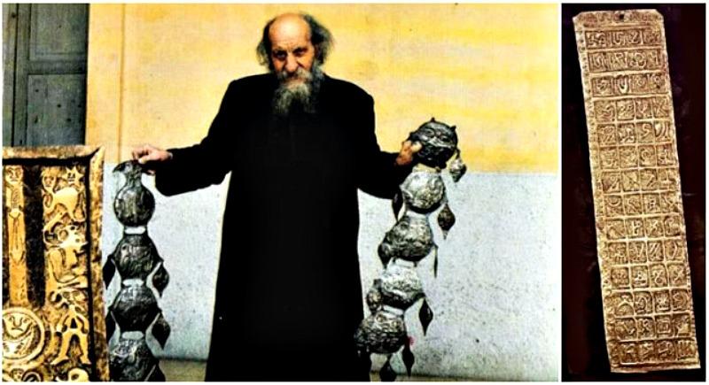 Carlos Crespi con algunos de los extraños objetos que le regalaron los Shuar. (Fotografía: Historia Enigmática).