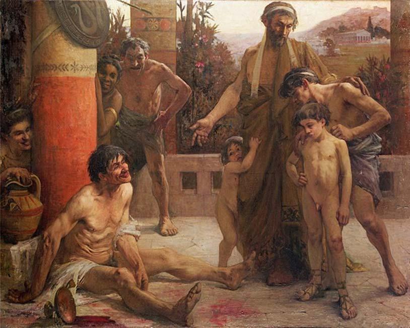 Padre espartano con sus tres hijos ante un esclavo borracho (Public Domain)