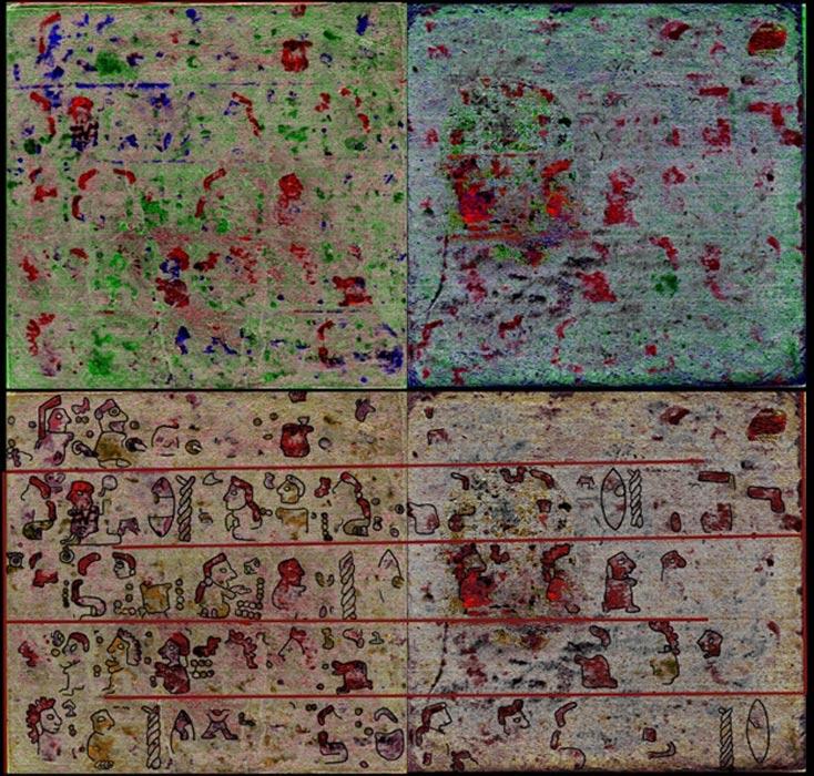 Arriba, páginas 11 y 10 del códice recientemente redescubierto, abajo, su reconstrucción (Universidad de Leiden)