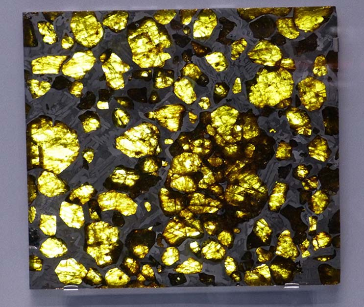 Museo de Historia Natural de Viena. Fragmentos de pallasita del meteorito de Fukang. (CC BY-SA 3.0)