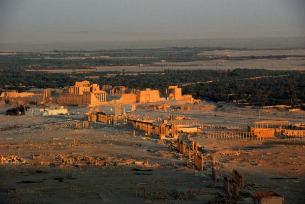 Vista aérea general de las actuales ruinas de Palmira. (Wikimedia Commons)
