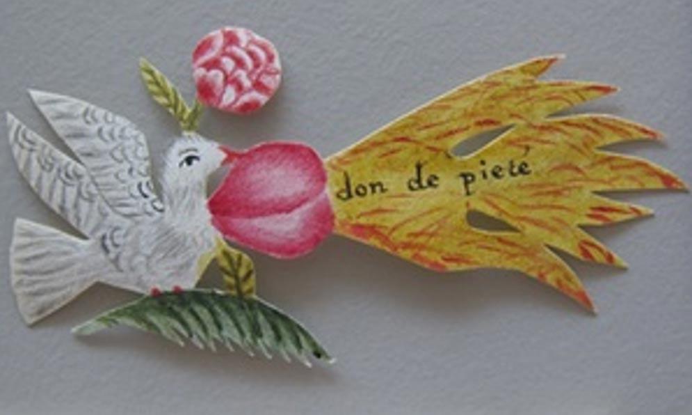 En una de las cartas fue hallada una bella paloma de papel. Fotografía: Museo de la Comunicación de La Haya