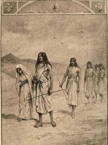 Los Pandavas viajando con su madre Kunti. (Dominio público)
